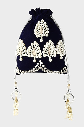 Midnight Blue Embroidered Potli by Clutch'D