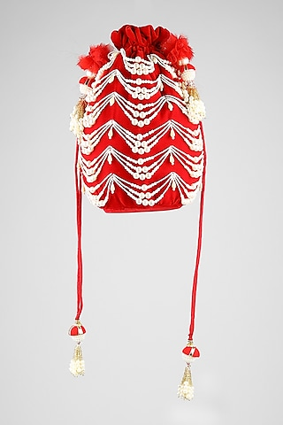 Red Embroidered Potli With Drawstrings by Clutch'D