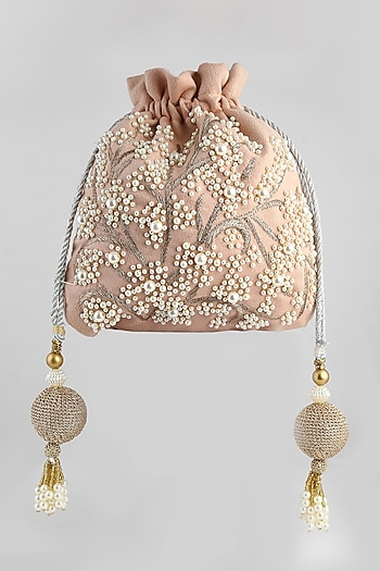 Peach Embroidered Velvet Potli by Clutch'D