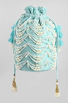 Ice Blue Embroidered Velvet Potli by Clutch'D