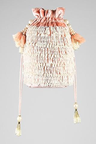 Blush Pink Embroidered Velvet Potli by Clutch'D