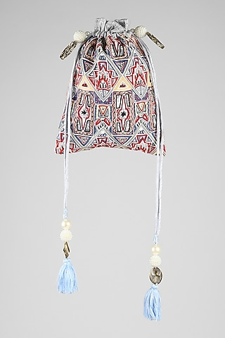 Silver Grey Hand Embroidered Potli by Clutch'D