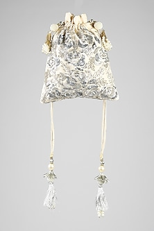 Ivory Sequins Embroidered Potli by Clutch'D