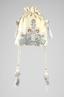 Ivory Hand Embroidered Potli by Clutch'D