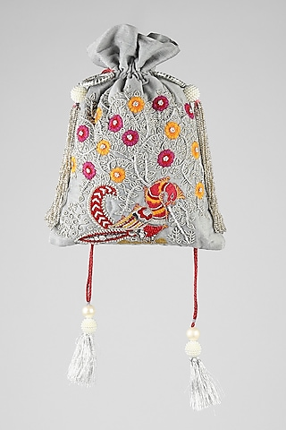 Grey Peacock Embroidered Potli by Clutch'D