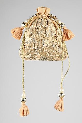 Gold Zardosi Embroidered Potli by Clutch'D
