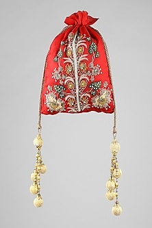 Red Floral Embroidered Potli by Clutch'D