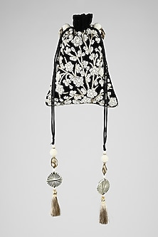 Black Zardosi Embroidered Potli by Clutch'D