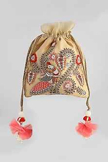Light Gold Peacock Embroidered Potli by Clutch'D