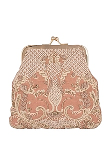 Pink Hand Embroidered Clutch by Clutch'D