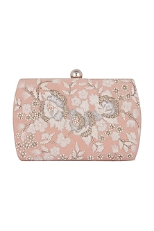 Blush Pink Hand Embroidered Clutch by Clutch'D