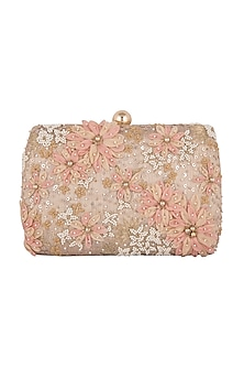 Light Gold Hand Embroidered Clutch by Clutch'D