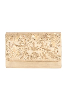 Golden Floral Hand Embroidered Clutch by Clutch'D