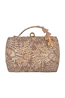 Golden Brown Hand Embroidered Clutch by Clutch'D