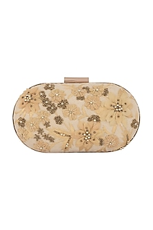 Light Gold Floral Hand Embroidered Clutch by Clutch'D