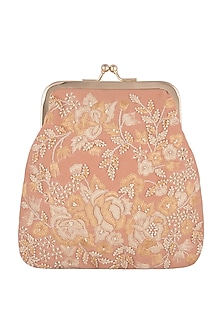 Pink Embroidered Clutch With Chain Handle by Clutch'D