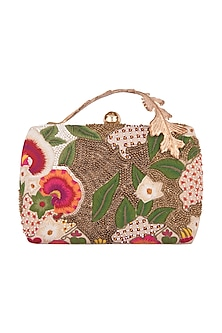 Multi Colored Hand Embroidered Clutch by Clutch'D