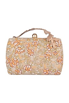 Gold Brocade Hand Embroidered Clutch by Clutch'D