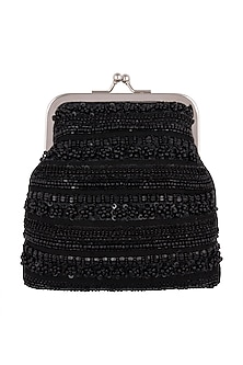 Black Silk Hand Embroidered Clutch by Clutch'D