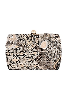 Black Sequins Embroidered Clutch by Clutch'D