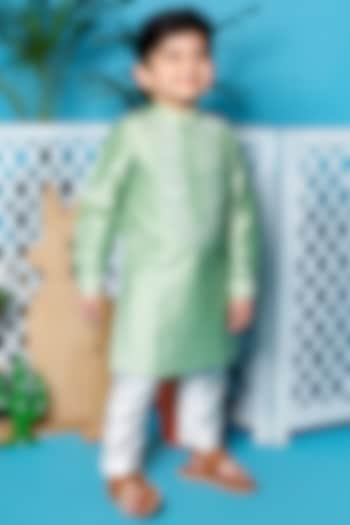 Mint Green Kurta Set With Mirror Work by Little Boys Closet