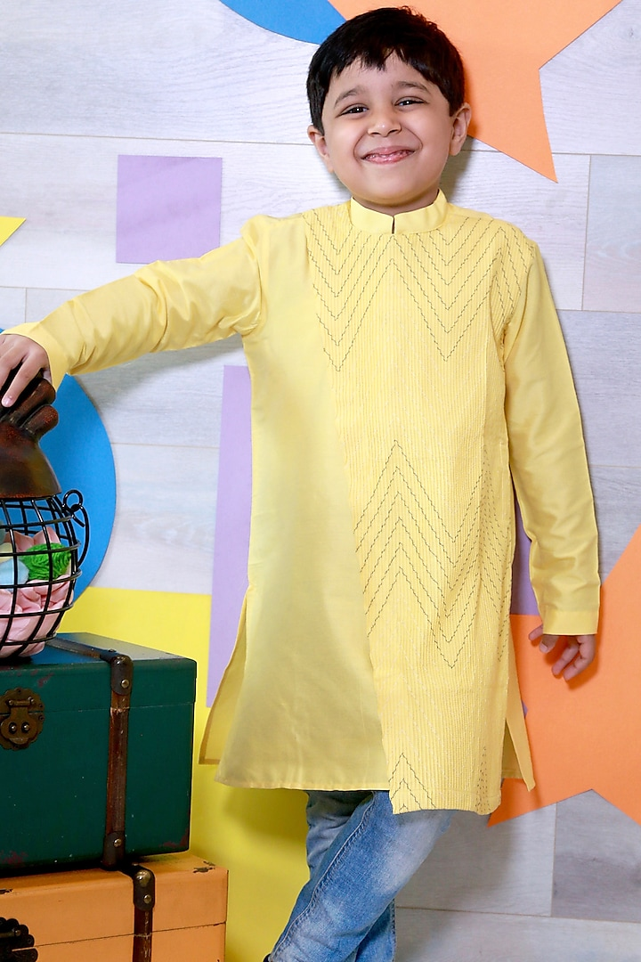Yellow Thread Embroidered Kurta Set by Little Boys Closet