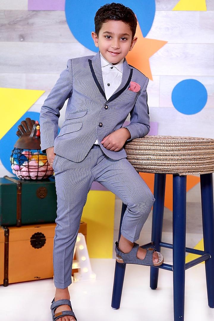 Blue Dotted Suit Set by Little Boys Closet