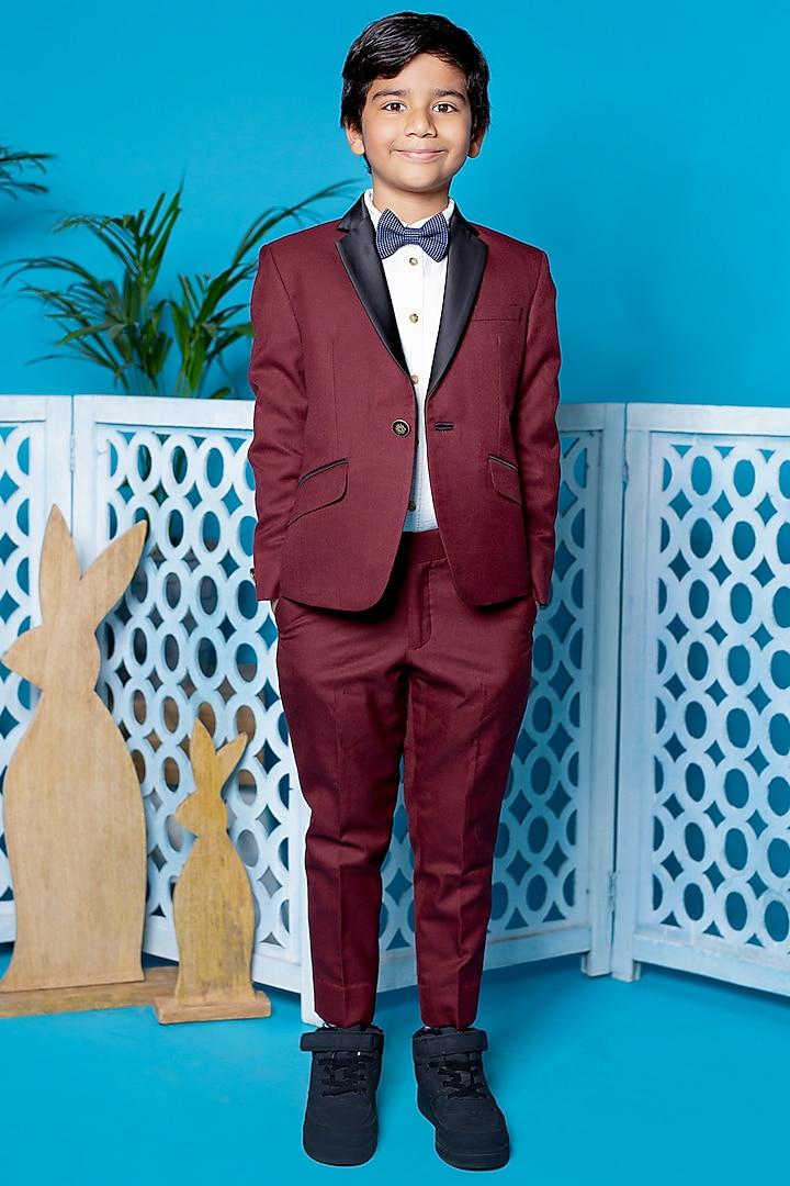 Dark Maroon Suit Set by Little Boys Closet