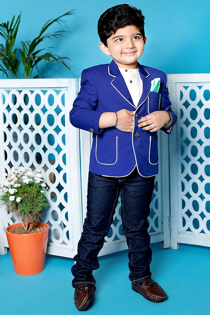 Royal Blue Blazer With Patch Pockets by Little Boys Closet