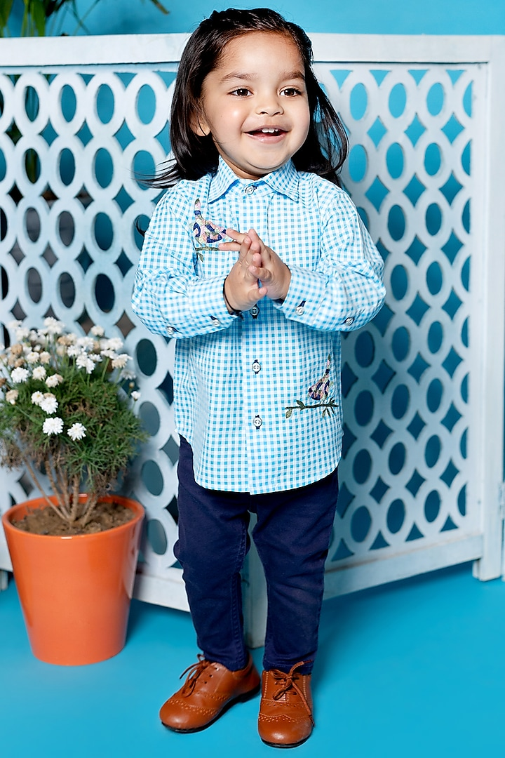 Sky Blue Embroidered Shirt by Little Boys Closet