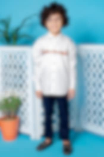 White Thread Embroidered Shirt by Little Boys Closet