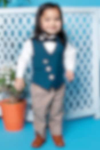 Teal Blue Waistcoat Set by Little Boys Closet