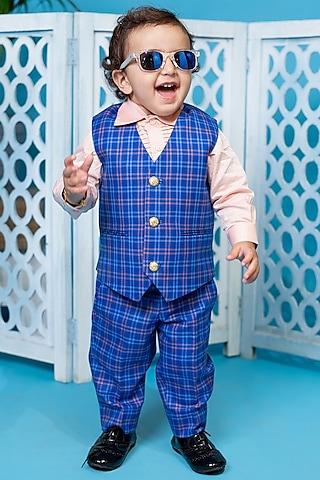 Blue Checkered Waistcoat Set by Little Boys Closet