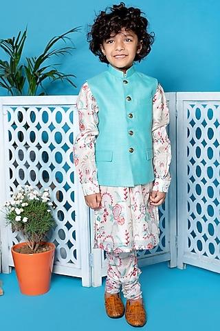 Mint Green Nehru Jacket With Kurta Set by Little Boys Closet