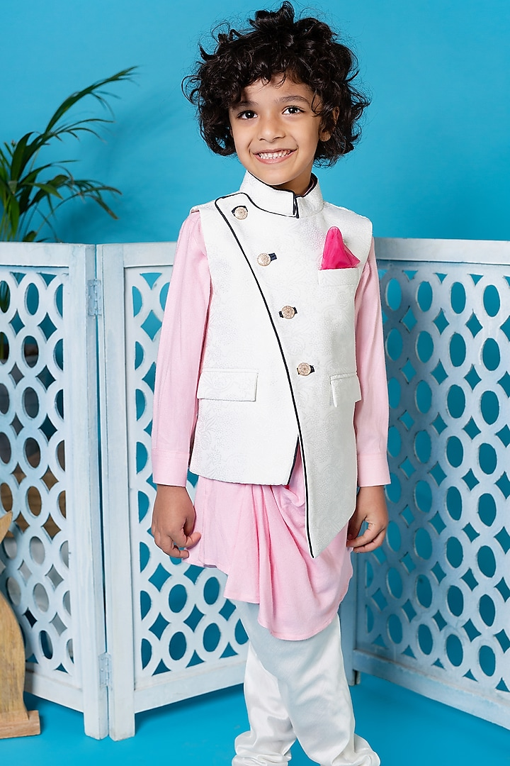 Baby Pink Kurta Set With Waistcoat by Little Boys Closet