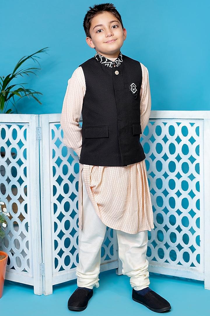 Black Embroidered Nehru Jacket With Kurta Set by Little Boys Closet