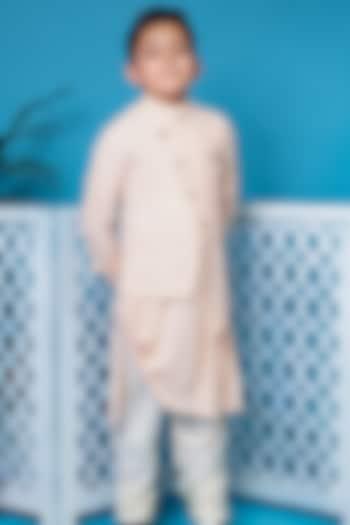 Peach Draped Kurta Set With Waistcoat by Little Boys Closet
