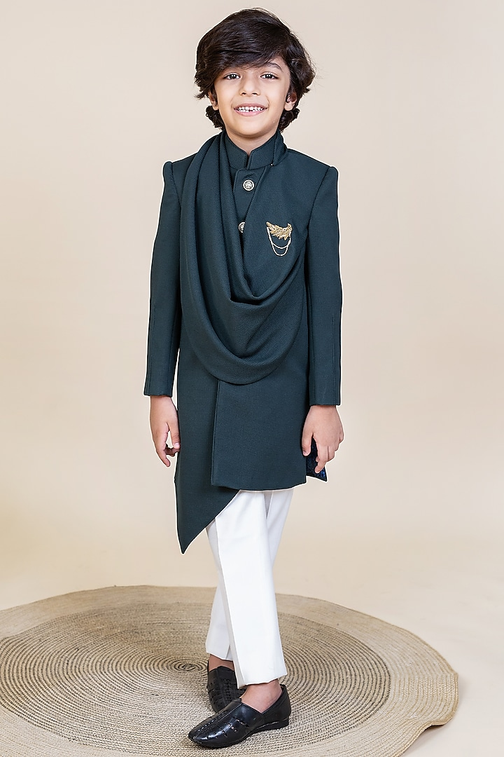 Dark Green Embroidered Indo-Western Draped Jacket Set by Little Boys Closet