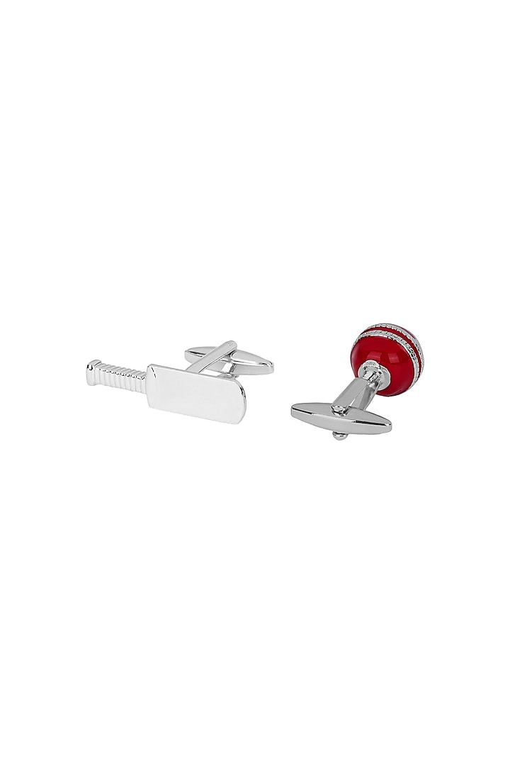 Silver & Red Cricket Enameled Cufflinks by Closet Code