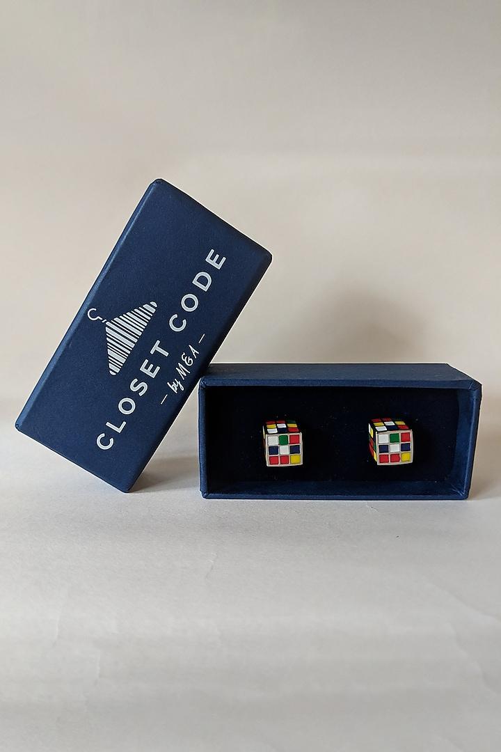 Multi Colored Rubik's Cube Enameled Cufflinks by Closet Code