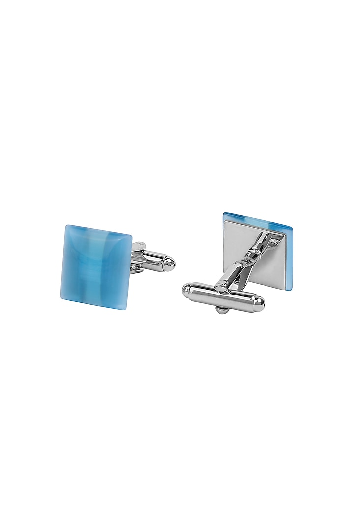 Blue Metal Cufflinks With Stones by Closet Code
