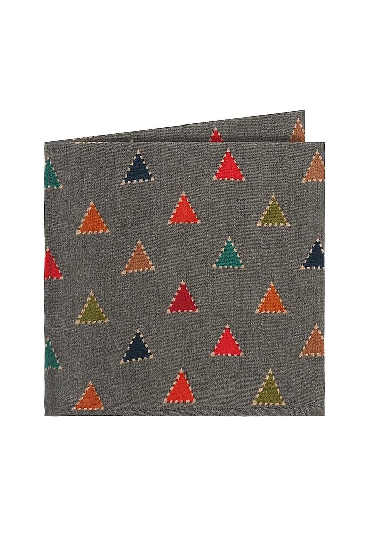Grey Printed Pocket Square by Closet Code