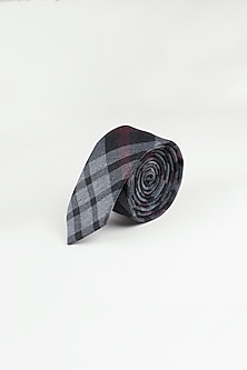 Grey Checkered Weave Tie by Closet Code