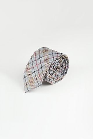 Grey Tie With Checks by Closet Code