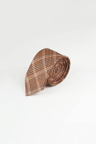Brown Cotton Checkered Tie by Closet Code