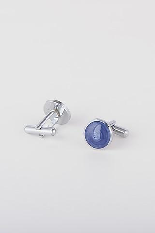Cobalt Blue Enamel Cufflinks by Closet Code