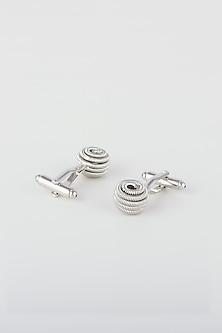 Silver Metal Classic Cufflinks by Closet Code
