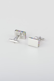 Silver Cufflinks With Multi Colored Strokes by Closet Code