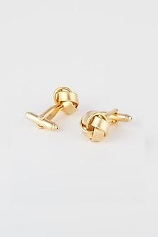 Gold Matte Finish Cufflinks by Closet Code