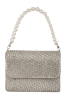 Silver Embroidered Flap Clutch by A Clutch Story